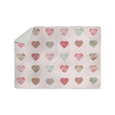 "afe images ""Pastel Hearts Pattern"" Pink Red Illustration Sherpa Blanket - KESS InHouse"