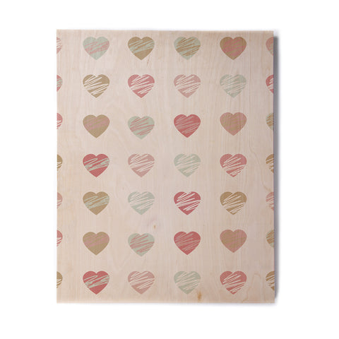 "afe images ""Pastel Hearts Pattern"" Pink Red Illustration Birchwood Wall Art - KESS InHouse  - 1"