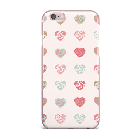 "afe images ""Pastel Hearts Pattern"" Pink Red Illustration iPhone Case - KESS InHouse"