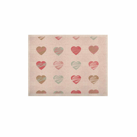 "afe images ""Pastel Hearts Pattern"" Pink Red Illustration KESS Naturals Canvas (Frame not Included) - KESS InHouse  - 1"