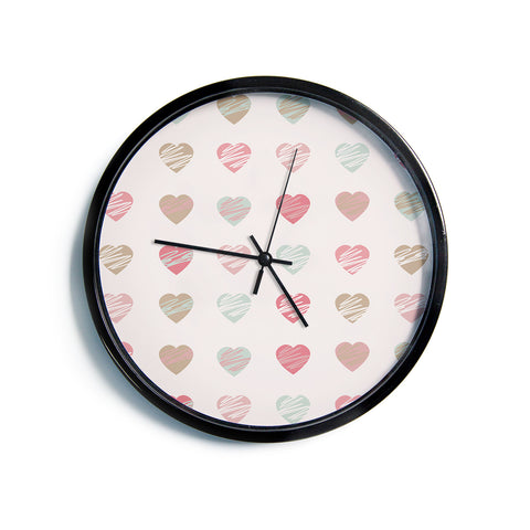 "AFE Images ""Pastel Hearts Pattern"" Pink Red Pattern Love Illustration Digital Modern Wall Clock"