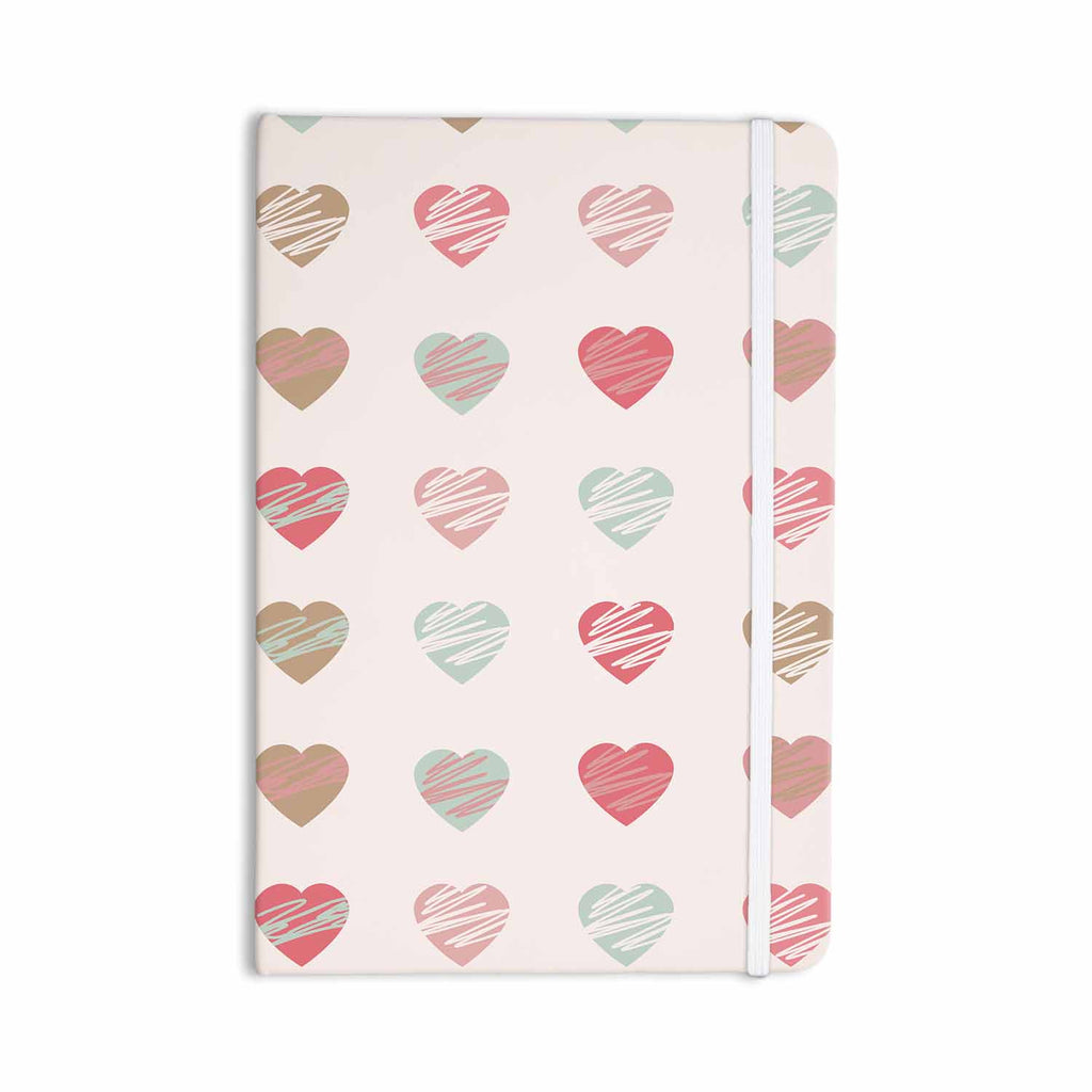 "afe images ""Pastel Hearts Pattern"" Pink Red Illustration Everything Notebook - KESS InHouse  - 1"