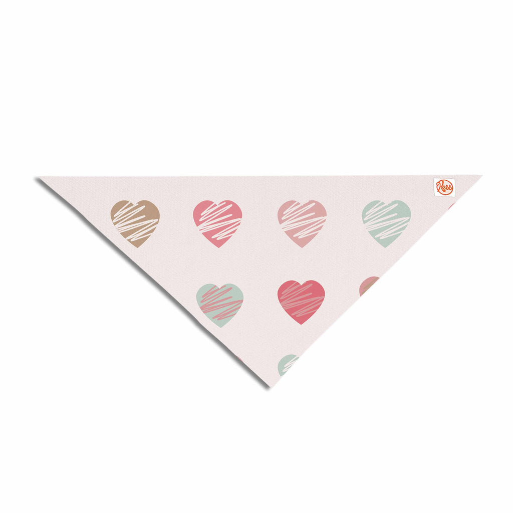 "afe images ""Pastel Hearts Pattern"" Pink Red Illustration Pet Bandana - KESS InHouse  - 1"