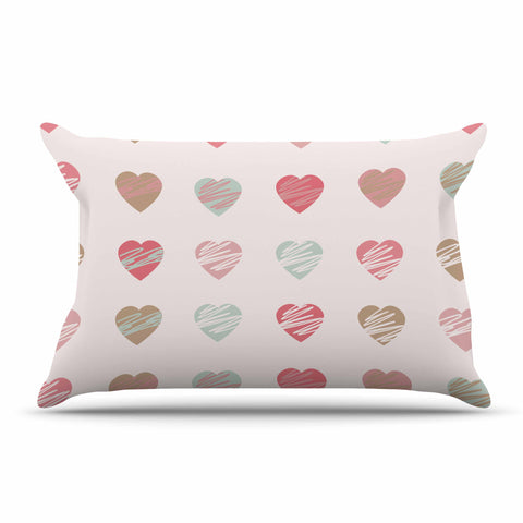 "afe images ""Pastel Hearts Pattern"" Pink Red Illustration Pillow Sham - KESS InHouse  - 1"