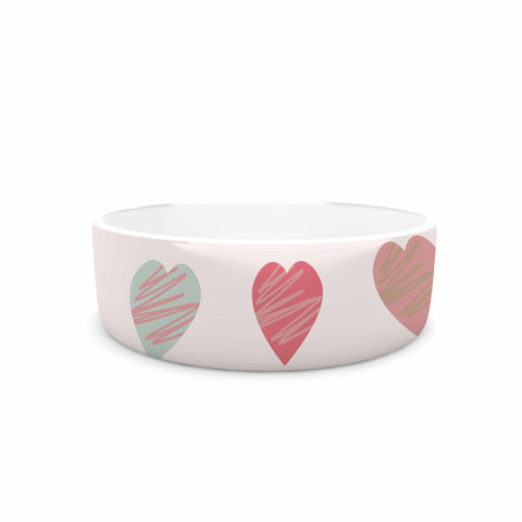"afe images ""Pastel Hearts Pattern"" Pink Red Illustration Pet Bowl - KESS InHouse"