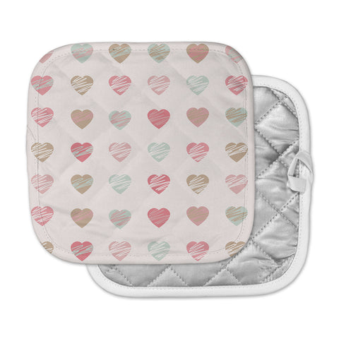 "afe images ""Pastel Hearts Pattern"" Pink Red Illustration Pot Holder"