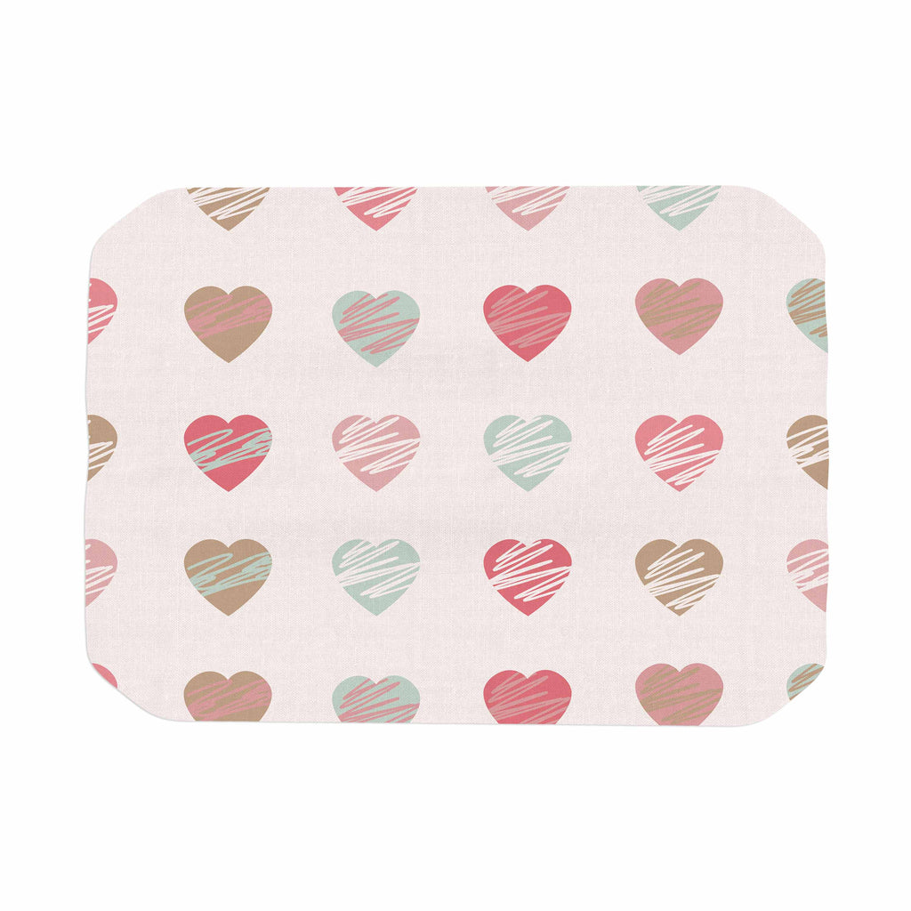 "afe images ""Pastel Hearts Pattern"" Pink Red Illustration Place Mat - KESS InHouse"