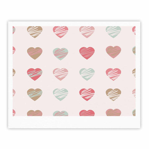 "afe images ""Pastel Hearts Pattern"" Pink Red Illustration Fine Art Gallery Print - KESS InHouse"
