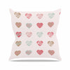 "afe images ""Pastel Hearts Pattern"" Pink Red Illustration Outdoor Throw Pillow - KESS InHouse  - 1"
