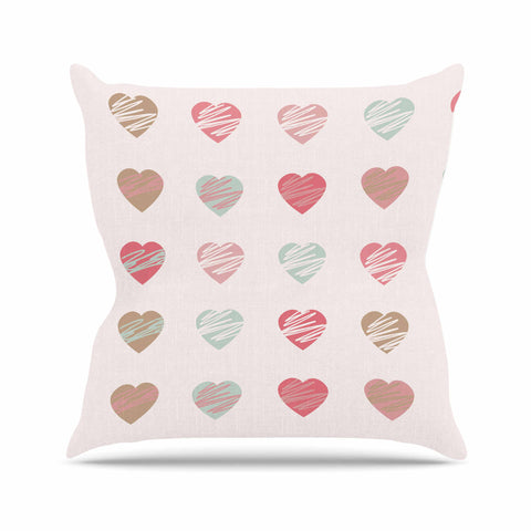 "afe images ""Pastel Hearts Pattern"" Pink Red Illustration Throw Pillow - KESS InHouse  - 1"