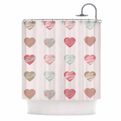 "afe images ""Pastel Hearts Pattern"" Pink Red Illustration Shower Curtain - KESS InHouse"