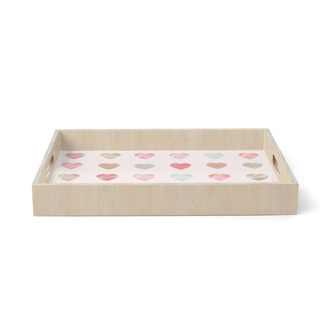"afe images ""Pastel Hearts Pattern"" Pink Red Pattern Love Illustration Digital Birchwood Tray"