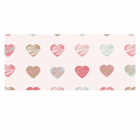 "afe images ""Pastel Hearts Pattern"" Pink Red Illustration Luxe Rectangle Panel - KESS InHouse  - 1"