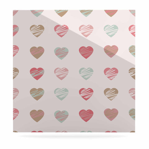 "afe images ""Pastel Hearts Pattern"" Pink Red Illustration Luxe Square Panel - KESS InHouse  - 1"