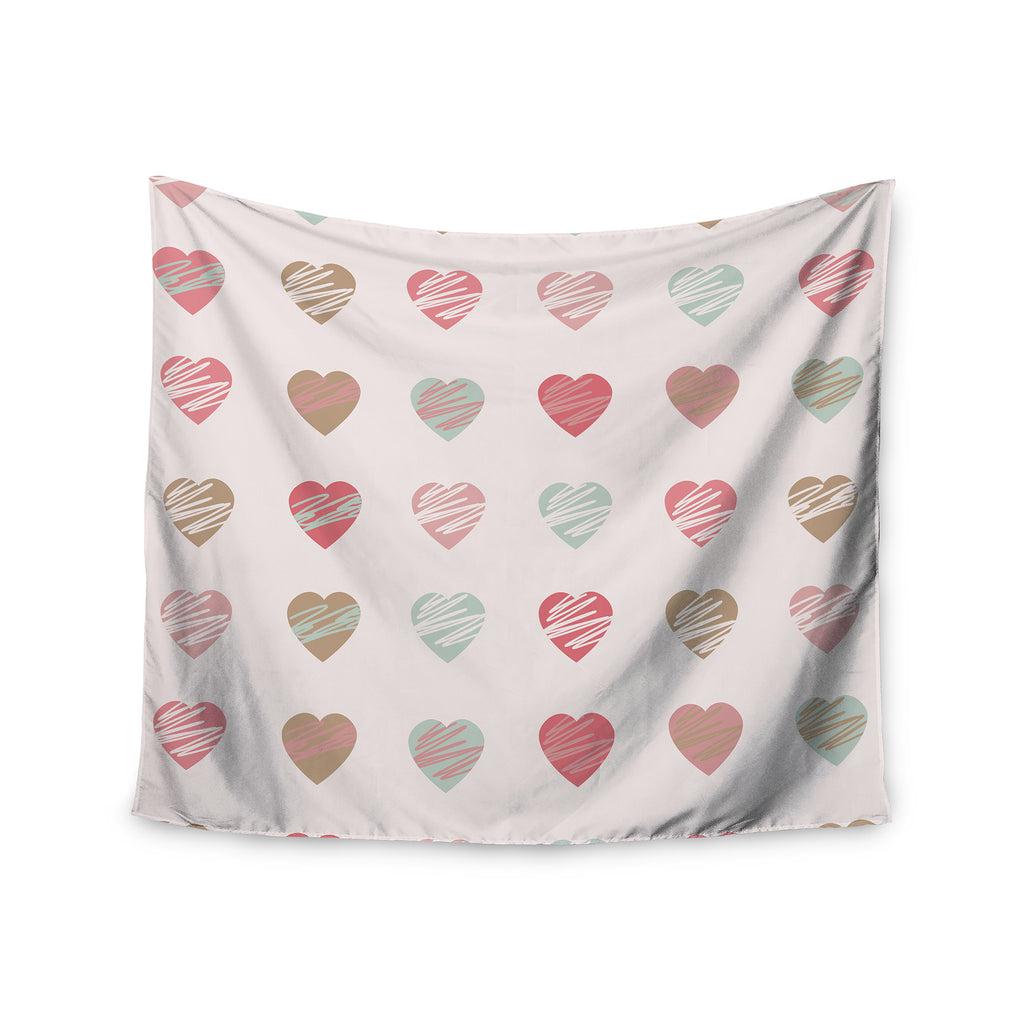 "afe images ""Pastel Hearts Pattern"" Pink Red Illustration Wall Tapestry - KESS InHouse  - 1"