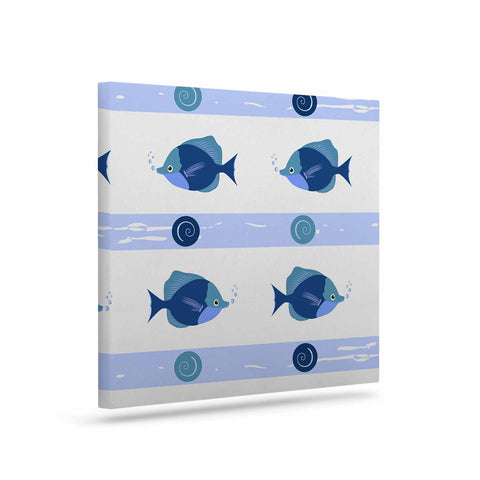"afe images ""Blue Fish"" Blue White Illustration Canvas Art"