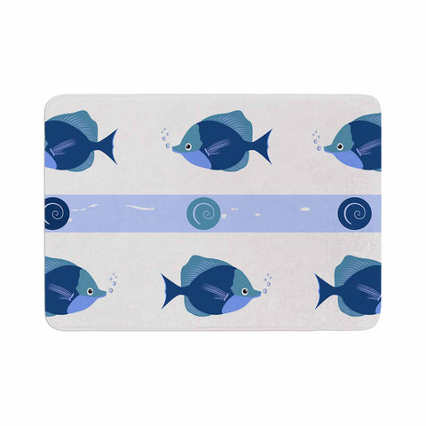 "afe images ""Blue Fish"" Blue White Illustration Memory Foam Bath Mat"