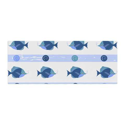 "afe images ""Blue Fish"" Blue White Illustration Bed Runner"
