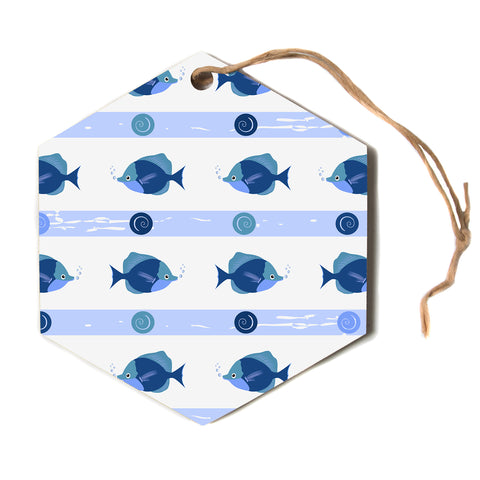 "afe images ""Blue Fish"" Blue White Nautical Pattern Digital Illustration Hexagon Holiday Ornament"