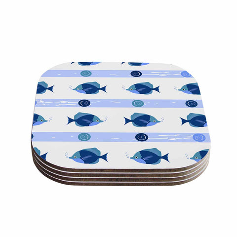 "afe images ""Blue Fish"" Blue White Illustration Coasters (Set of 4)"