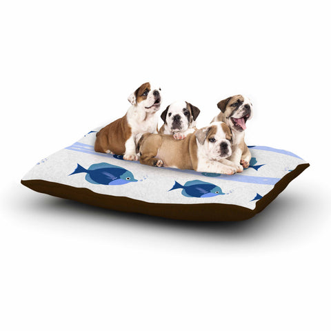 "afe images ""Blue Fish"" Blue White Illustration Dog Bed"