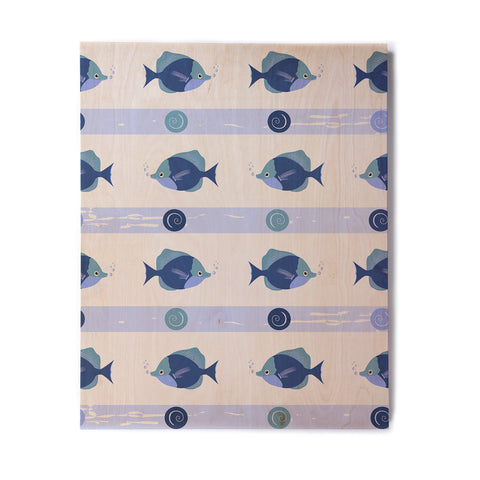 "afe images ""Blue Fish"" Blue White Illustration Birchwood Wall Art"
