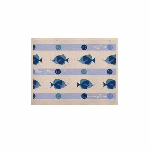 "afe images ""Blue Fish"" Blue White Illustration KESS Naturals Canvas (Frame not Included)"