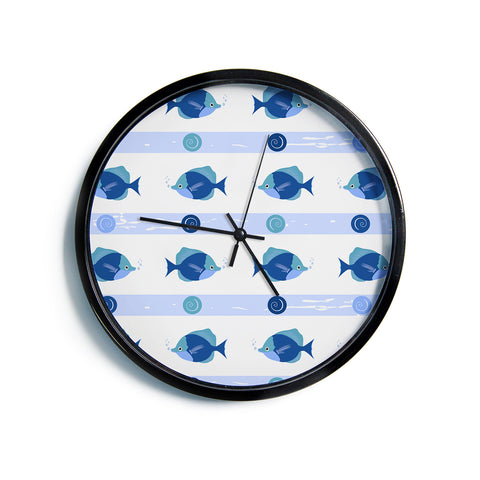 "AFE Images ""Blue Fish"" Blue White Nautical Pattern Digital Illustration Modern Wall Clock"