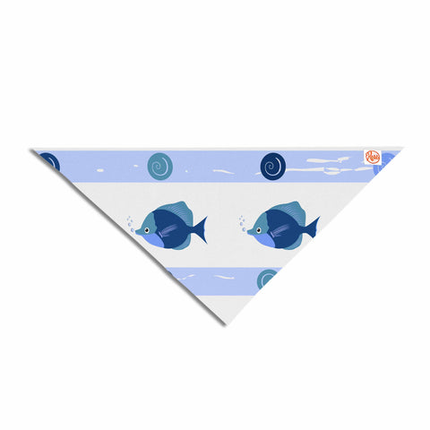"afe images ""Blue Fish"" Blue White Illustration Pet Bandana"