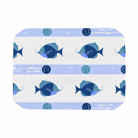 "afe images ""Blue Fish"" Blue White Illustration Place Mat"