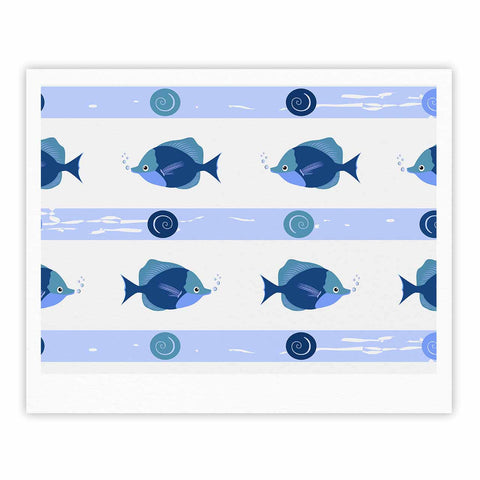 "afe images ""Blue Fish"" Blue White Illustration Fine Art Gallery Print"