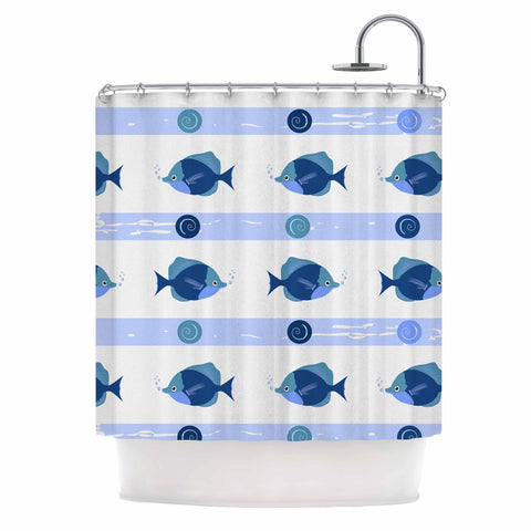 "afe images ""Blue Fish"" Blue White Illustration Shower Curtain"