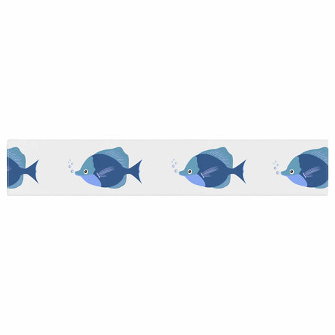 "afe images ""Blue Fish"" Blue White Illustration Table Runner"
