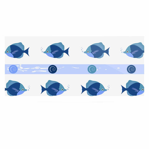 "afe images ""Blue Fish"" Blue White Illustration Luxe Rectangle Panel"