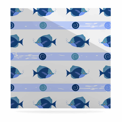 "afe images ""Blue Fish"" Blue White Illustration Luxe Square Panel"