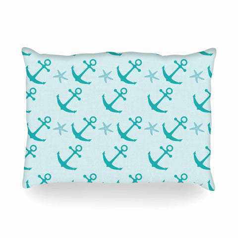 "afe images ""Mint Anchors"" Teal Blue Illustration Oblong Pillow"