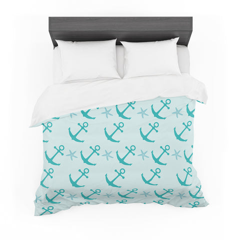 "afe images ""Mint Anchors"" Teal Blue Illustration Featherweight Duvet Cover"