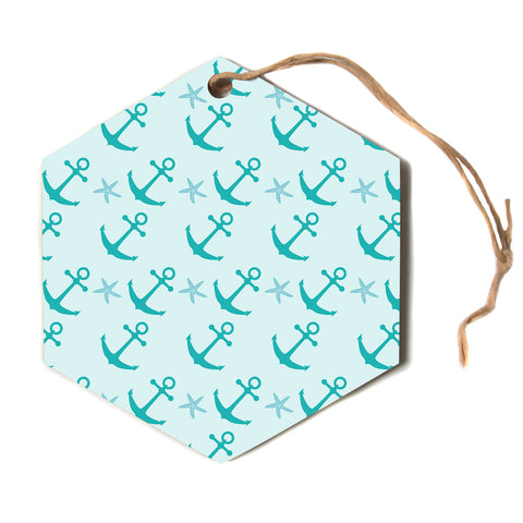 "afe images ""Mint Anchors"" Teal Blue Nautical Pattern Illustration Digital Hexagon Holiday Ornament"