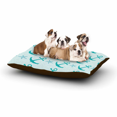 "afe images ""Mint Anchors"" Teal Blue Illustration Dog Bed"