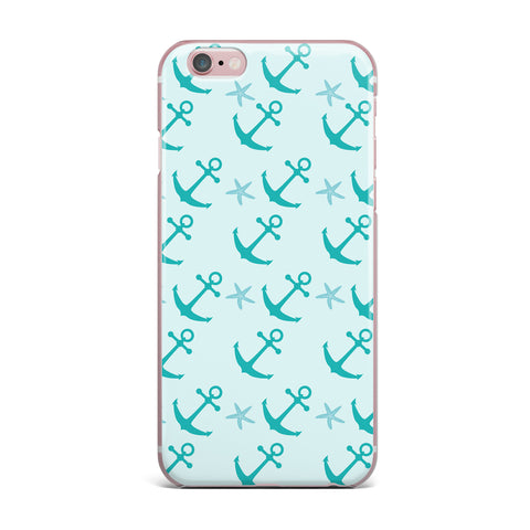 "afe images ""Mint Anchors"" Teal Blue Illustration iPhone Case"