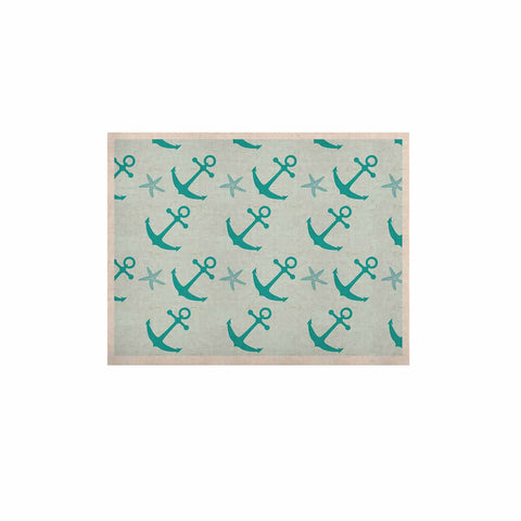 "afe images ""Mint Anchors"" Teal Blue Illustration KESS Naturals Canvas (Frame not Included)"