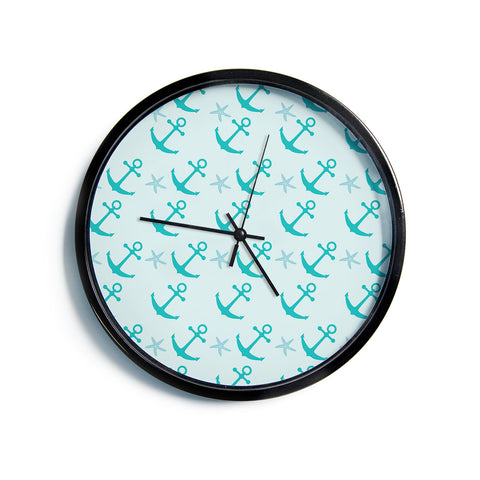 "AFE Images ""Mint Anchors"" Teal Blue Nautical Pattern Illustration Digital Modern Wall Clock"