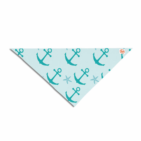 "afe images ""Mint Anchors"" Teal Blue Illustration Pet Bandana"