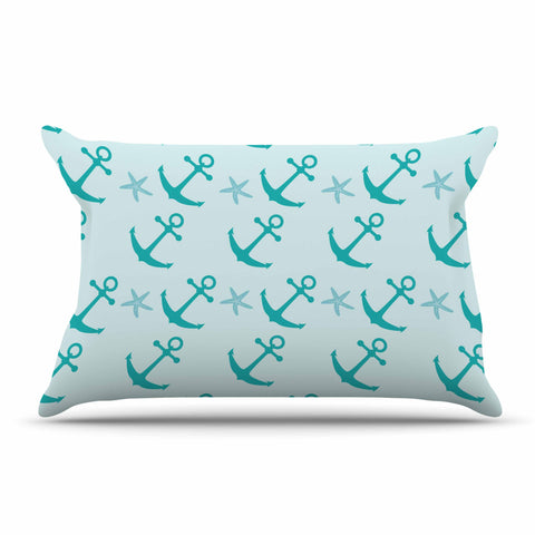 "afe images ""Mint Anchors"" Teal Blue Illustration Pillow Sham"