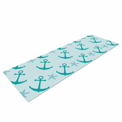 "afe images ""Mint Anchors"" Teal Blue Illustration Yoga Mat"