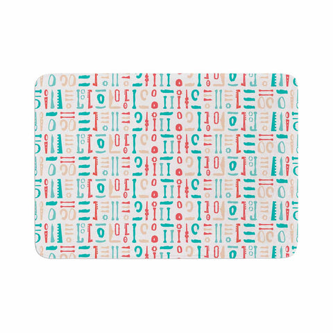 "afe images ""Abstract Pattern"" Coral Blue Illustration Memory Foam Bath Mat"