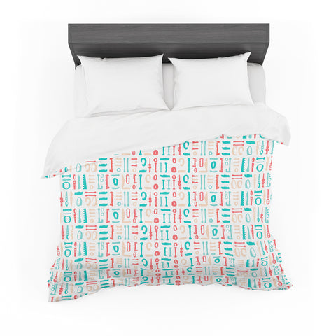 "afe images ""Abstract Pattern"" Coral Blue Illustration Featherweight Duvet Cover"