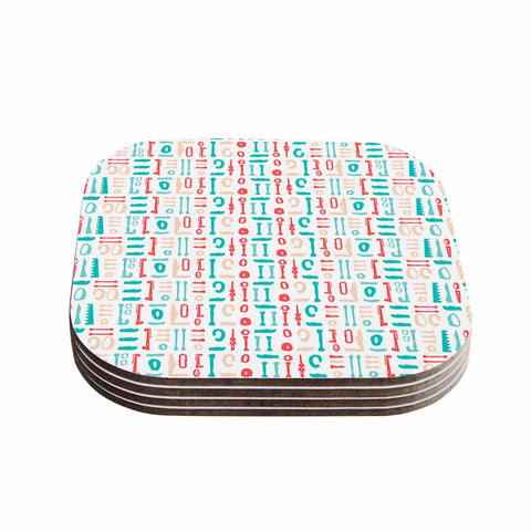 "afe images ""Abstract Pattern"" Coral Blue Illustration Coasters (Set of 4)"