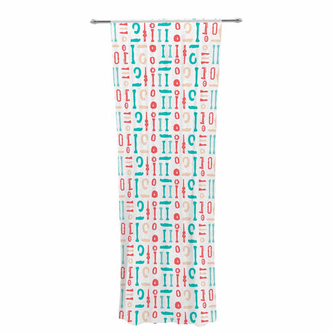 "afe images ""Abstract Pattern"" Coral Blue Illustration Decorative Sheer Curtain"