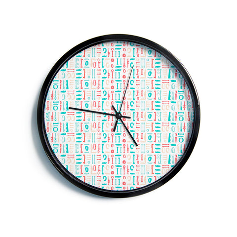 "AFE Images ""Abstract Pattern"" Coral Blue Abstract Pattern Digital Illustration Modern Wall Clock"